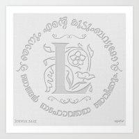 Joshua 24:15 - (Letterpress) Monogram L Art Print