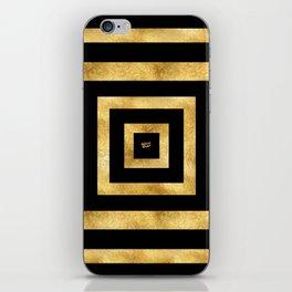 ART DECO SQUARES BLACK AND GOLD #minimal #art #design #kirovair #buyart #decor #home iPhone Skin