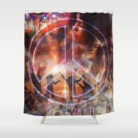 woodstock Shower Curtains featuring Woodstock Peace by ZiggyChristenson