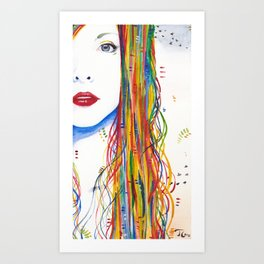Rainbows and Black birds Art Print
