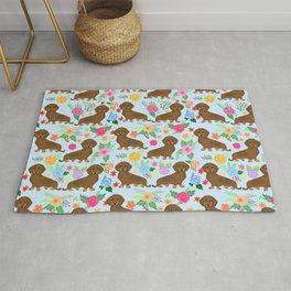 Cute Weiner dogs flower pattern Rug