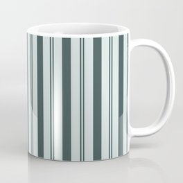 Night Watch Color of the Year Thick and Thin Vertical Stripes on Cave Pearl Light Mint Green Coffee Mug