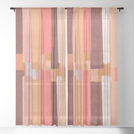 Line In Coral #society6 #abstractart Sheer Curtain
