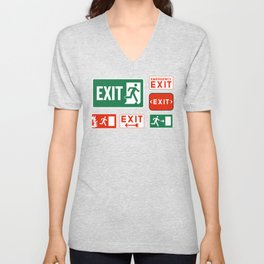 Evacuation Day Exit Sign Unisex V-Neck