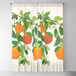 Oranges and Blossoms II / Tropical Fruit Illustration Blackout Curtain