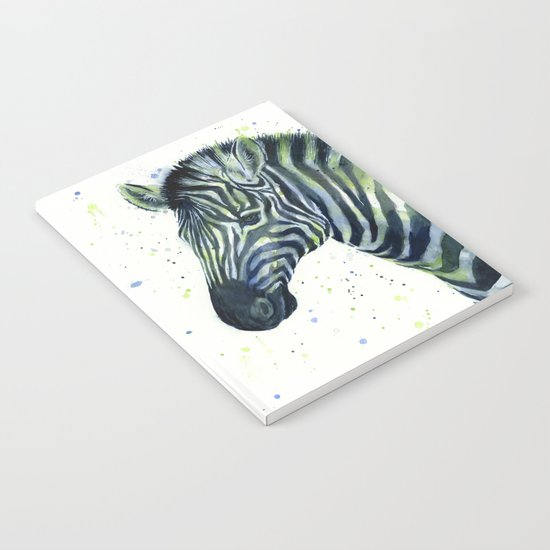 Zebra Watercolor Blue Green Animal Notebook