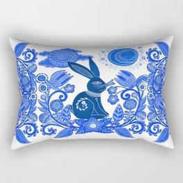 Blue Rabbit Rectangular Pillow