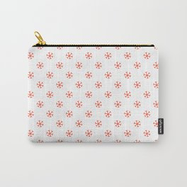 Scarlet Red on White Snowflakes Carry-All Pouch