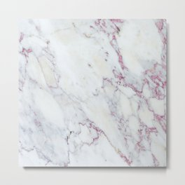 White faux marble pink accent Metal Print