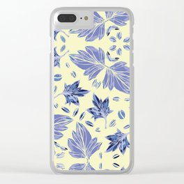 Autumn leaves in light yellow and blue Clear iPhone Case
