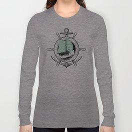 Anchor Wheel & Wooden Sailer Long Sleeve T-shirt