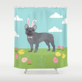 French Bulldog easter spring dog breed gifts pure breed frenchies grey coat Shower Curtain