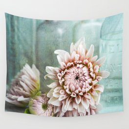 Pink Dahlia Vintage Blue Bottles Wall Tapestry