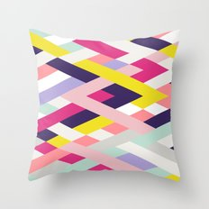 Smart Diagonals Blue Throw Pillow