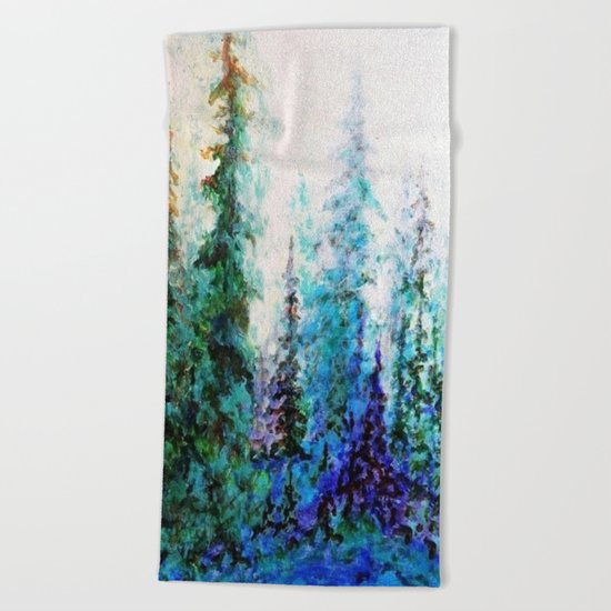 Mountain Landscape Pines In Blue-Greens-Purple Beach Towel