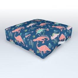 Jurassic Dinosaurs on Blue Outdoor Floor Cushion