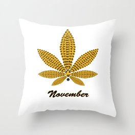 Birthstoned Leaf of Month, November Citrine Throw Pillow