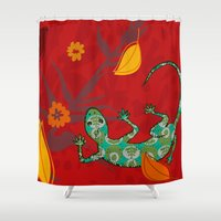 lizard Shower Curtains featuring Lizard by Agustina Echarry