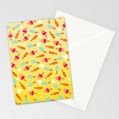 Retro hand drawn mint lemon lime ombre ice cream pattern white triangles illustration Stationery Cards