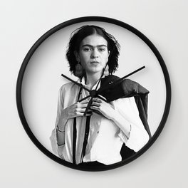 Frida Kahlo Wearing White Shirt Wall Clock