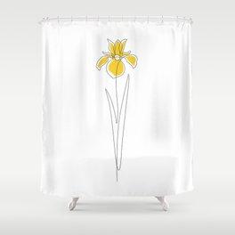 Mustard Iris Shower Curtain