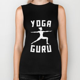 Yoga Guru Warrior Two Silhouette Biker Tank