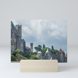 Foreshortening in the medieval citadel of Carcassonne, southern France Mini Art Print