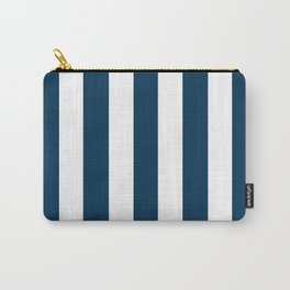 Prussian blue - solid color - white vertical lines pattern Carry-All Pouch