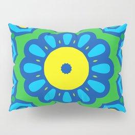 Bright Blue Mandala Spinning Round Pillow Sham