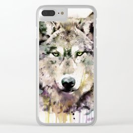 Wolf Head Watercolor Portrait Clear iPhone Case