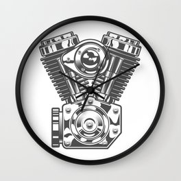Vintage motorcycle engine in design fashion modern monochrome style illustration Wall Clock