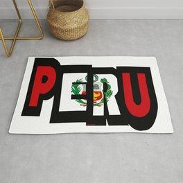 Peru Font With Peruvian Flag Rug