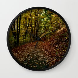 Trail of Autumn Golden Leaves Wall Clock
