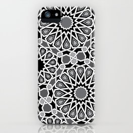 black and white Moroccan tiles iPhone Case