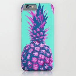 Modern colorful Pineapple pink blue turquoise background iPhone Case
