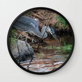 Great Blue Heron Fishing - III Wall Clock