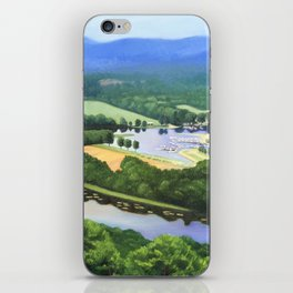 Fine Art Print of a View of the Oxbow in Northampton, Massachusetts from Mount Tom in East iPhone Skin