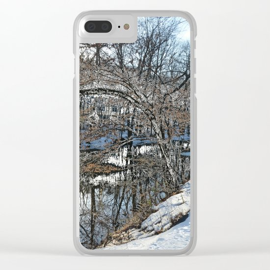 Looking in the water mirror Clear iPhone Case
