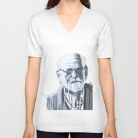 freud V-neck T-shirts featuring Sigmund Freud by Sobottastudies