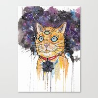 space cat Canvas Prints featuring Space Cat by scoobtoobins