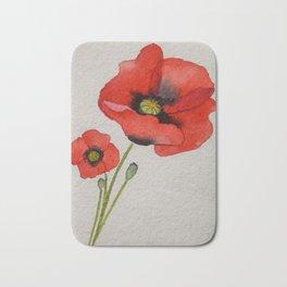 Watercolour Poppies Bath Mat