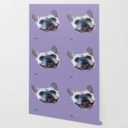 light purple dog pattern cute puppy french bulldog Wallpaper