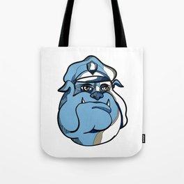 Bulldog Policeman Head Drawing Tote Bag