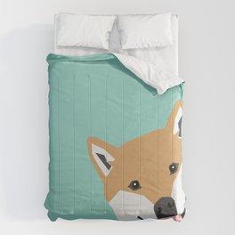 Shiba Inu Peek - cute shiba doge peeking funny dog art print mint turquoise customizable dog gift Comforters