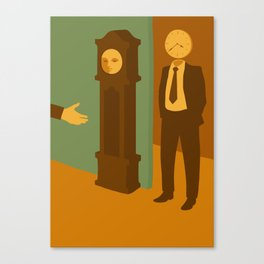 The Man Who Mistook His Wife for a Hat — The Clock Canvas Print