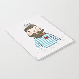 Lovely Bearded Sailor Man Illustration Notebook