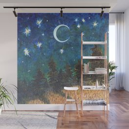 Night Sky over Forest Wall Mural