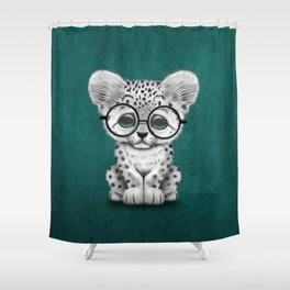 Cute Snow Leopard Cub Wearing Glasses on Teal Blue Shower Curtain