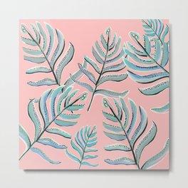 Pastel Ferns in Coral Pink Metal Print