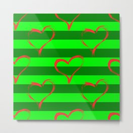 Hearts and green stripes Metal Print